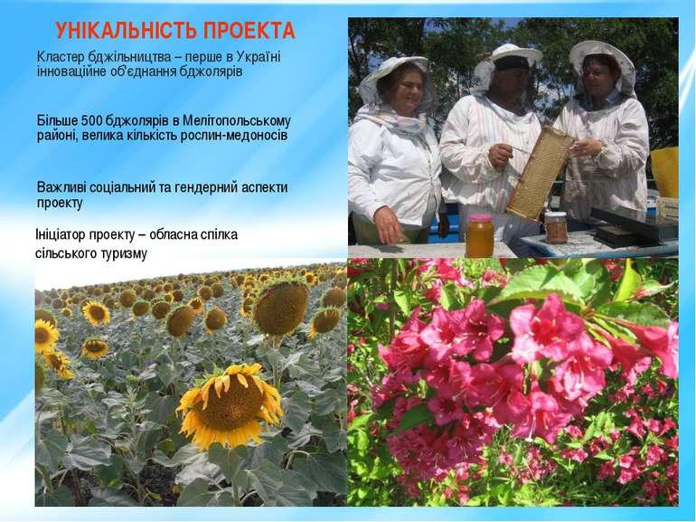 * УНІКАЛЬНІСТЬ ПРОЕКТА Кластер бджільництва – перше в Україні інноваційне об'...