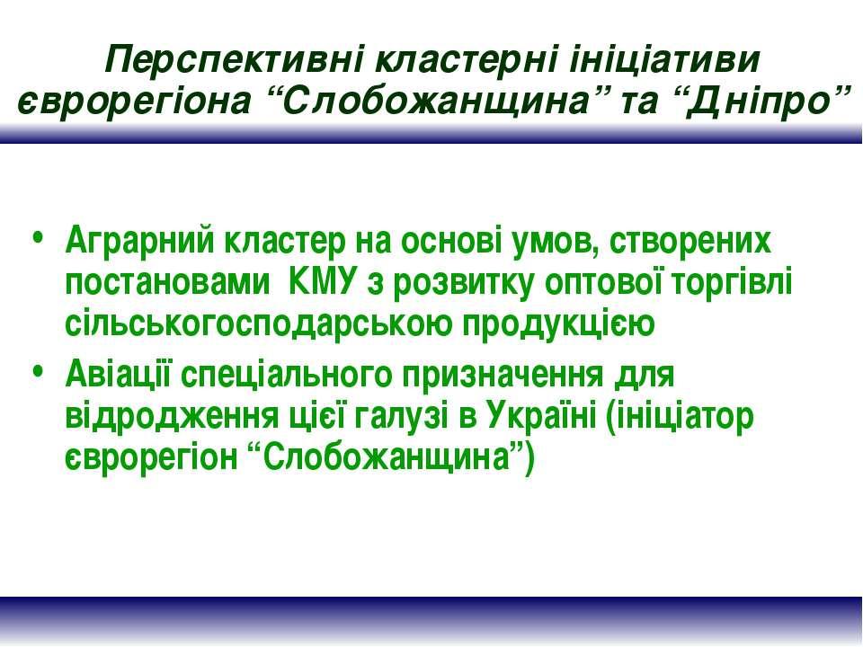 """Перспективні кластерні ініціативи єврорегіона """"Слобожанщина"""" та """"Дніпро"""" Агра..."""