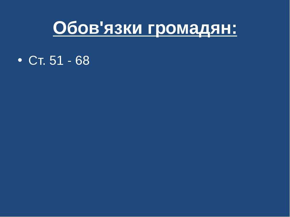 Обов'язки громадян: Ст. 51 - 68