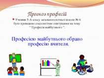 Прогноз професій Учнями 5-А класу загальноосвітньої школи № 6 було проведено ...
