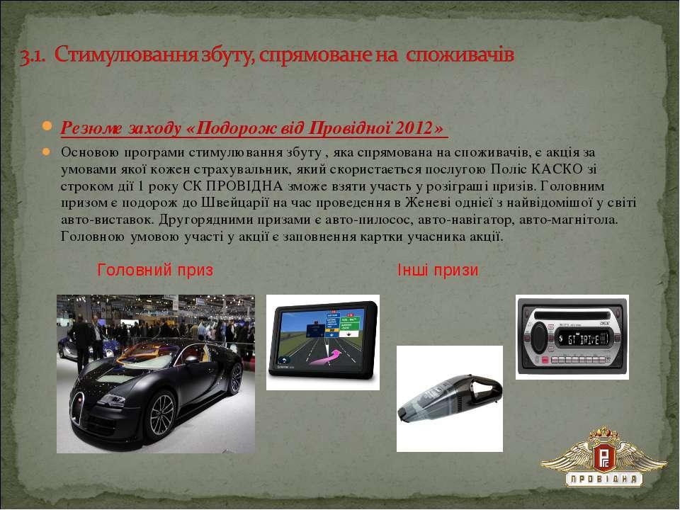 Резюме заходу «Подорож від Провідної 2012» Основою програми стимулювання збут...