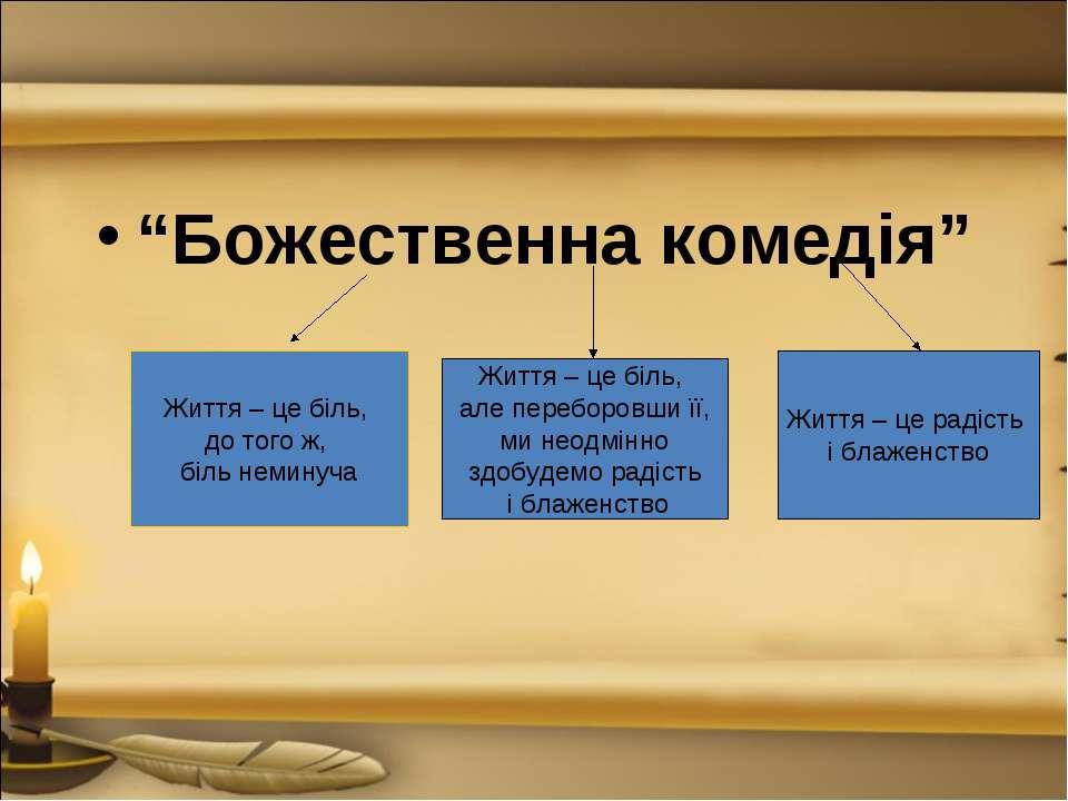"""""""Божественна комедія"""" Життя – це біль, до того ж, біль неминуча Життя – це бі..."""