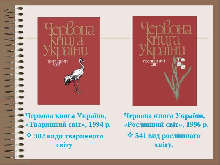 Червона книга України, «Тваринний світ», 1994 р. 382 види тваринного світу Че...