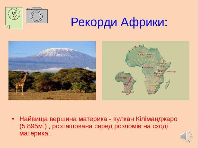 Рекорди Африки: Найвища вершина материка - вулкан Кіліманджаро (5.895м.) , ро...