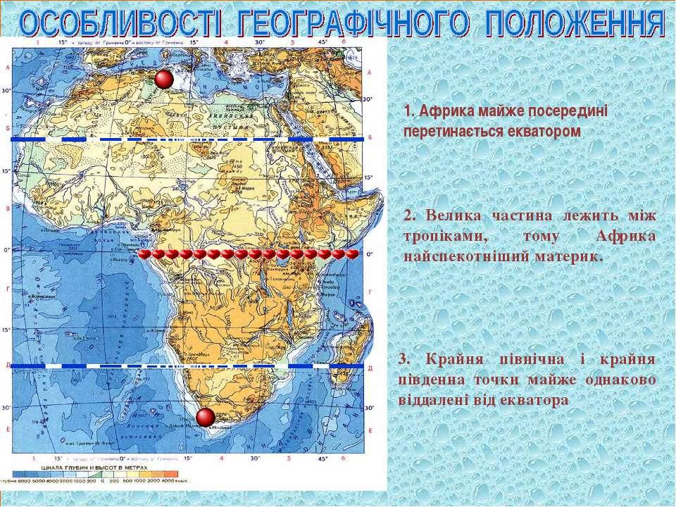 1. Африка майже посередині перетинається екватором 2. Велика частина лежить м...