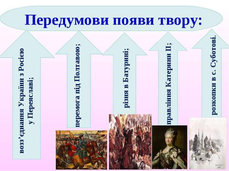 возз'єднання України з Росією у Переяславі; перемога під Полтавою; різня в Ба...