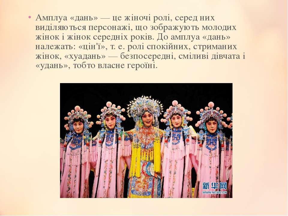 Амплуа «дань» — це жіночі ролі, серед них виділяються персонажі, що зображуют...