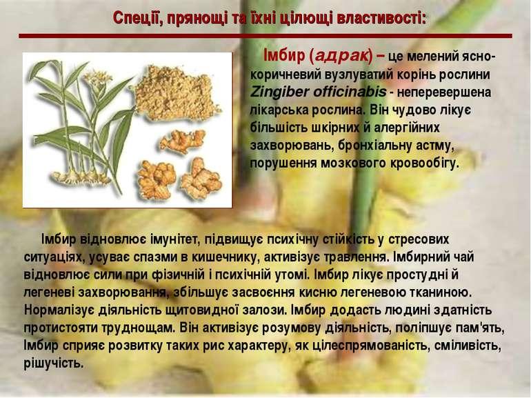 Спеції, прянощі та їхні цілющі властивості: Імбир (адрак) – це мелений ясно-к...