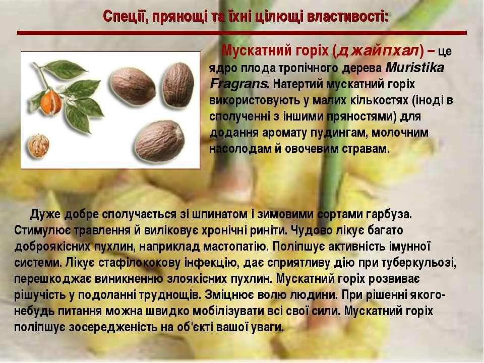 Спеції, прянощі та їхні цілющі властивості: Мускатний горіх (джайпхал) – це я...