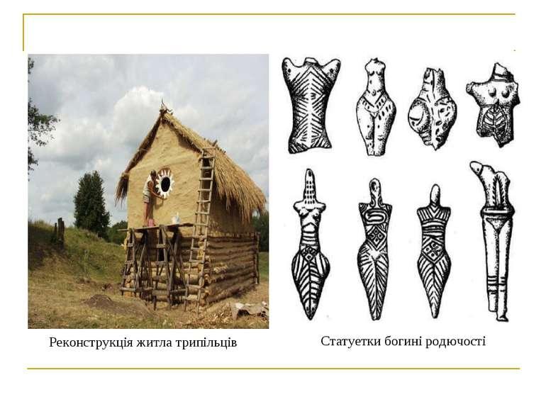 Реконструкція житла трипільців Статуетки богині родючості