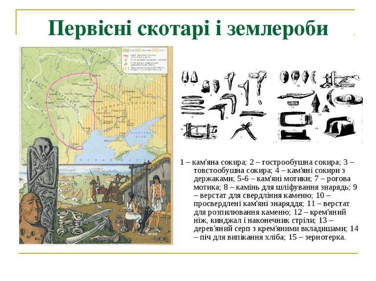 Первісні скотарі і землероби 1 – кам'яна сокира; 2 – гострообушна сокира; 3 –...