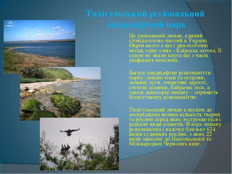 Тилігульський регіональний ландшафтний парк Це унікальний лиман, єдиний стові...