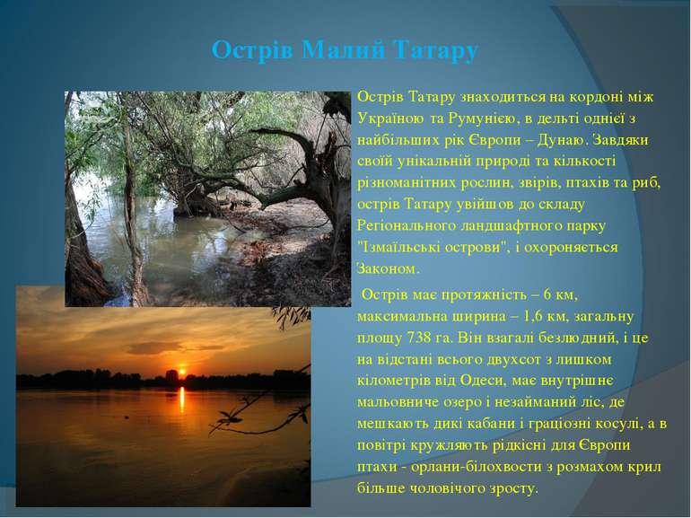 Острів Малий Татару Острів Татару знаходиться на кордоні між Україною та Руму...