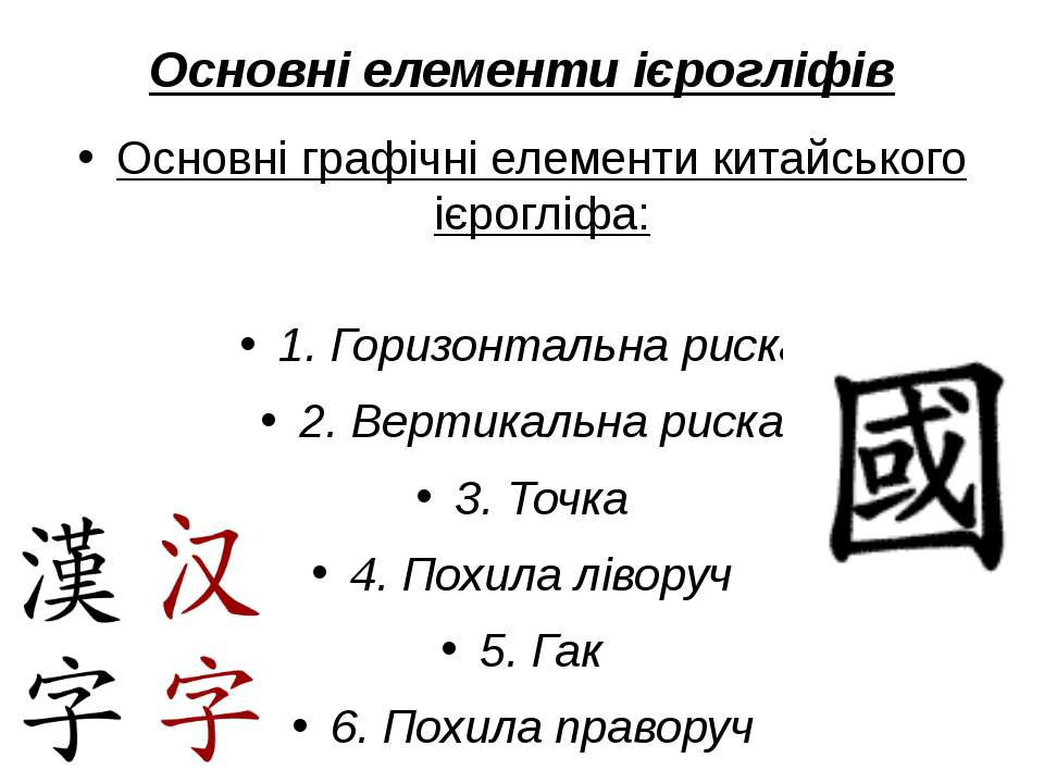 Основні елементи ієрогліфів Основні графічні елементи китайського ієрогліфа: ...