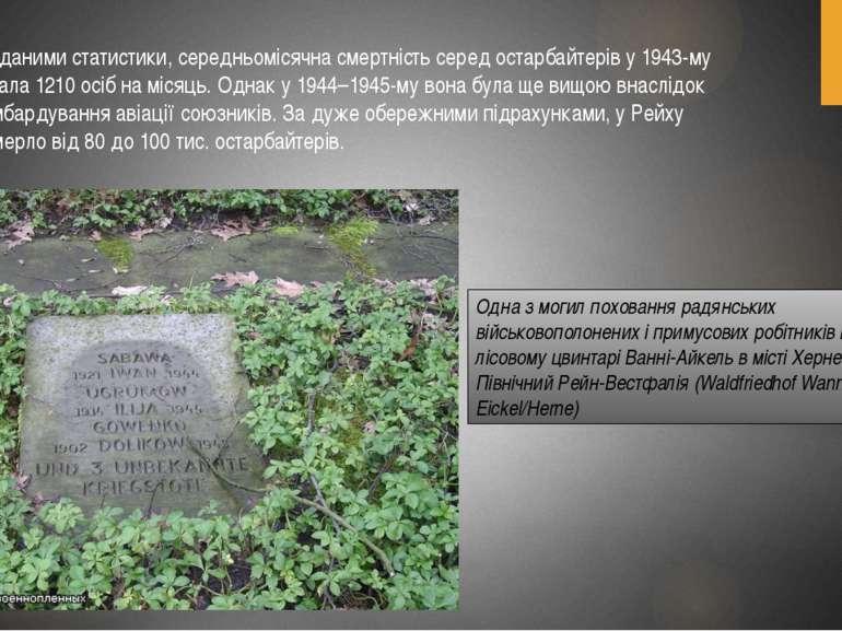 За даними статистики, середньомісячна смертність серед остарбайтерів у 1943-м...