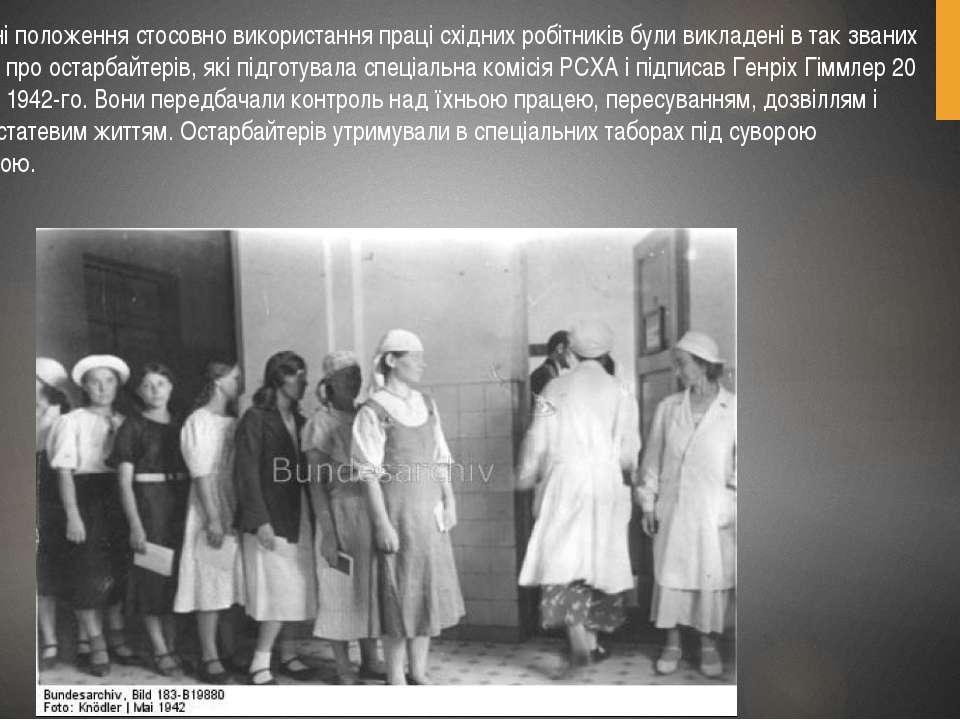Основні положення стосовно використання праці східних робітників були викладе...