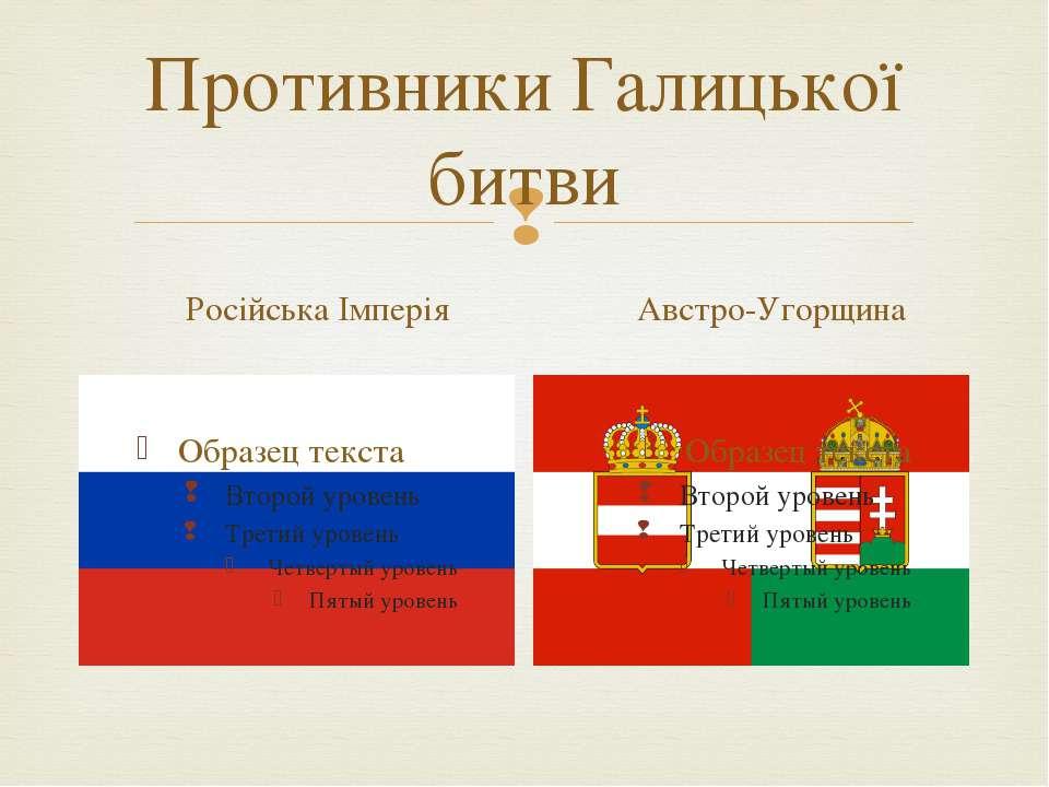 Противники Галицької битви Російська Імперія Австро-Угорщина