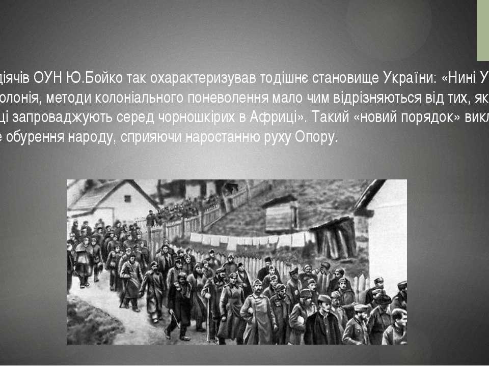 Один з діячів ОУН Ю.Бойко так охарактеризував тодішнє становище України: «Нин...