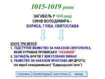 ГОЛОВНА НАСТУПНА ВИХІД ПОПЕРЕДНЯ 1015-1019 роки ЗАГИБЕЛЬ У 1015 році СИНІВ ВО...