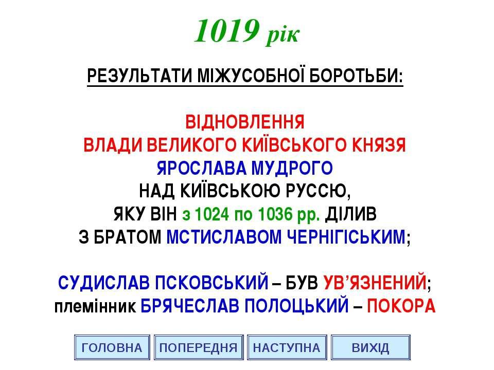 1019 рік ГОЛОВНА ВИХІД ПОПЕРЕДНЯ РЕЗУЛЬТАТИ МІЖУСОБНОЇ БОРОТЬБИ: ВІДНОВЛЕННЯ ...