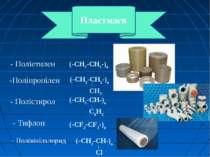 - Поліетилен (-CH2-CH2-)n -Поліпропілен CH3 - Полістирол (-CH2-CH-)n C6H5 - Т...