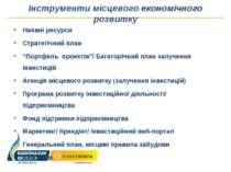 Інструменти місцевого економічного розвитку Наявні ресурси Стратегічний план ...