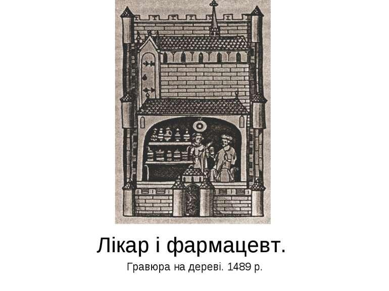 Лікар і фармацевт. Гравюра на дереві. 1489 р.