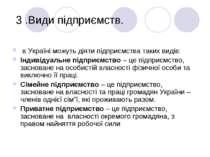 3 .Види пiдприємств. в Українi можуть дiяти пiдприємства таких видiв: Індивід...