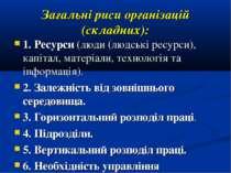 Загальні риси організацій (складних): 1. Ресурси (люди (людські ресурси), кап...