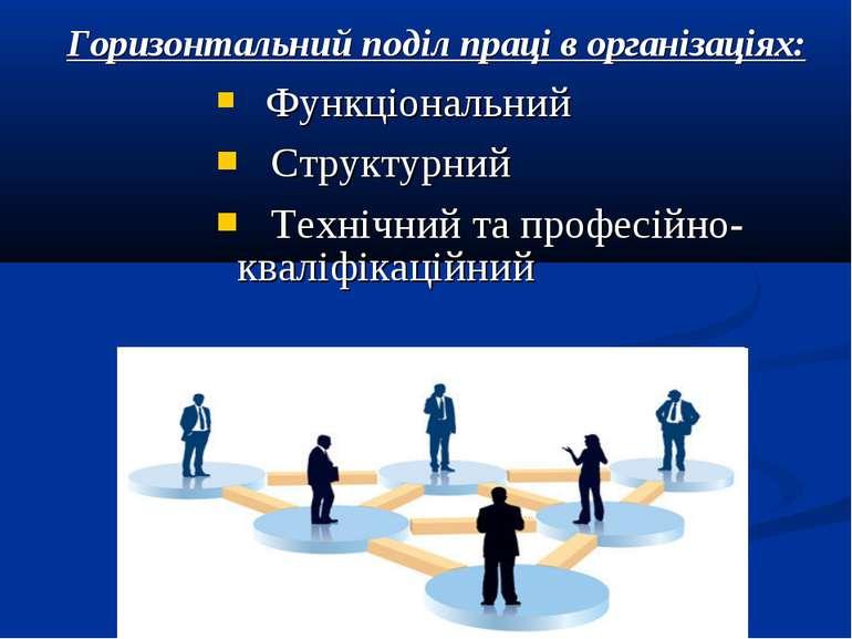 Горизонтальний поділ праці в організаціях: Функціональний Структурний Технічн...