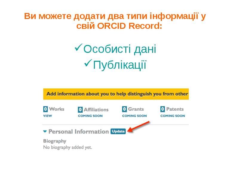Ви можете додати два типи інформації у свій ORCID Record: Особисті дані Публі...