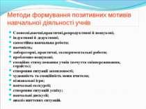 Методи формування позитивних мотивів навчальної діяльності учнів Словесні,нао...