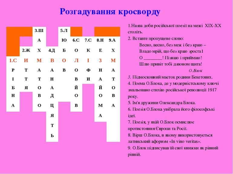 Назва доби російської поезії на межі ХІХ-ХХ століть. 2. Вставте пропущене сло...