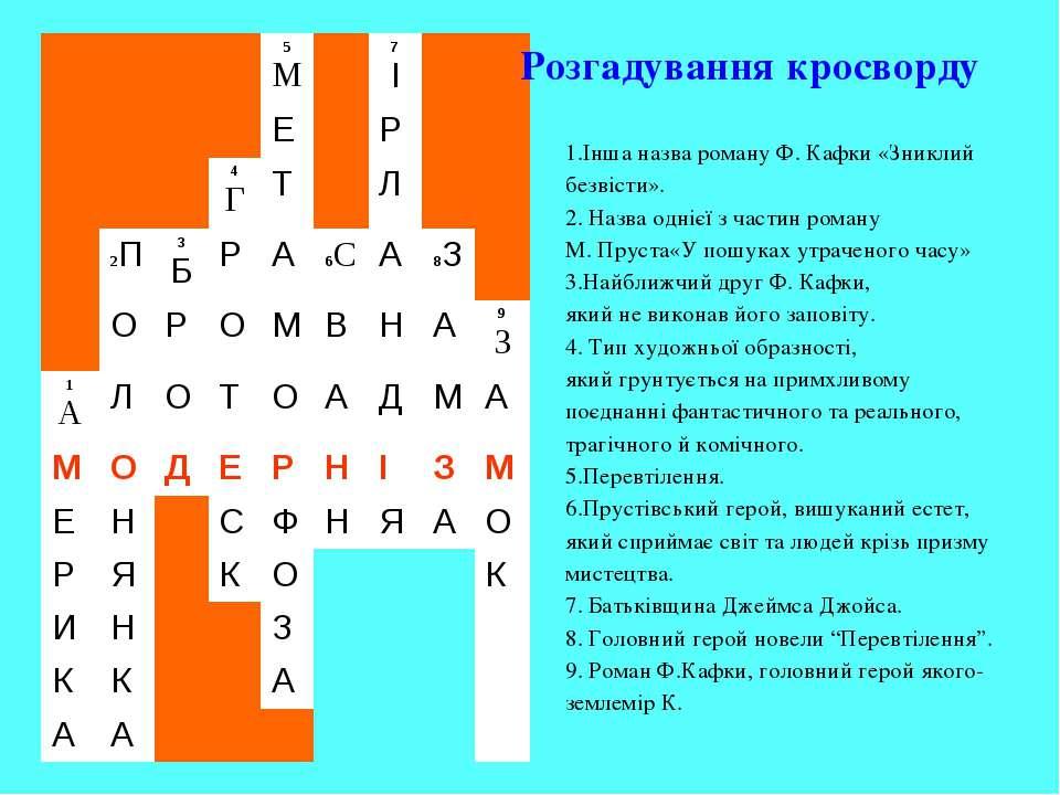 Інша назва роману Ф. Кафки «Зниклий безвісти». 2. Назва однієї з частин роман...