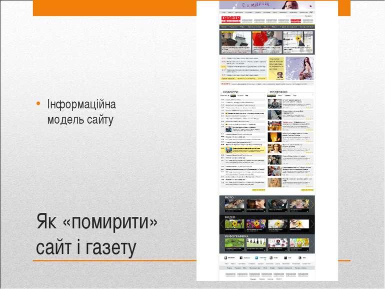 Як «помирити» сайт і газету Інформаційна модель сайту