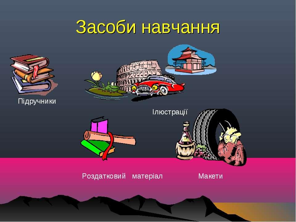 Засоби навчання Підручники Ілюстрації Роздатковий матеріал Макети