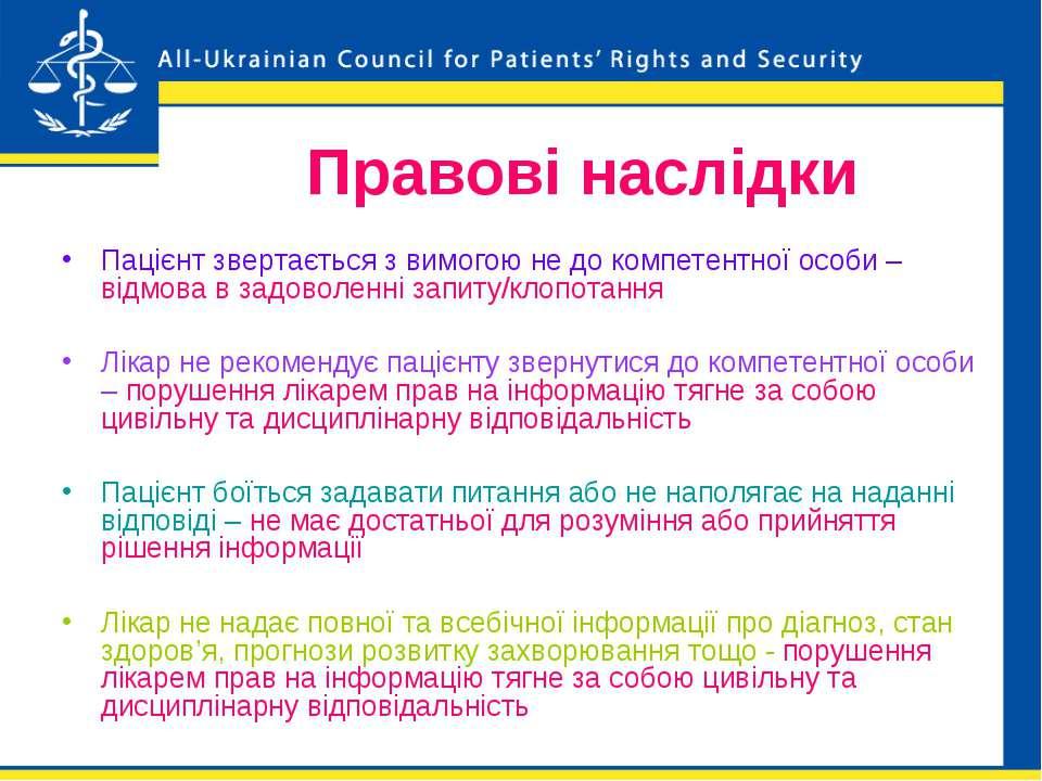 Правові наслідки Пацієнт звертається з вимогою не до компетентної особи – від...