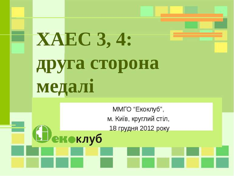 """ХАЕС 3, 4: друга сторона медалі ММГО """"Екоклуб"""", м. Київ, круглий стіл, 18 гру..."""