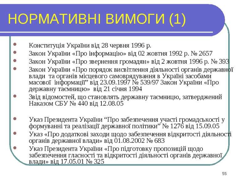 НОРМАТИВНІ ВИМОГИ (1) Конституція України від 28 червня 1996 р. Закон України...