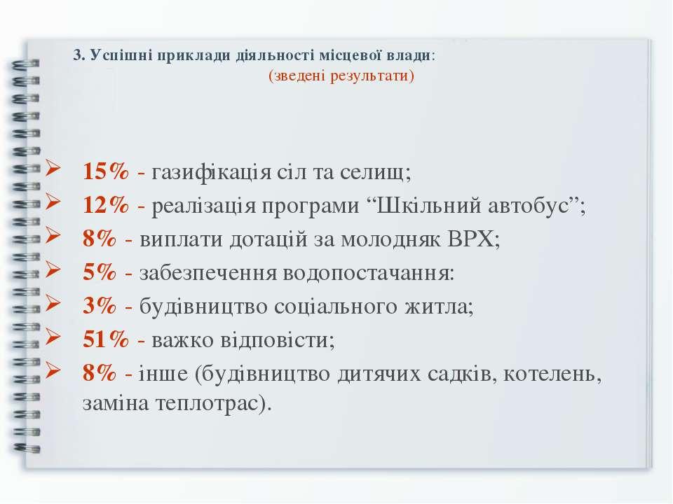 3. Успішні приклади діяльності місцевої влади: (зведені результати) 15% - газ...