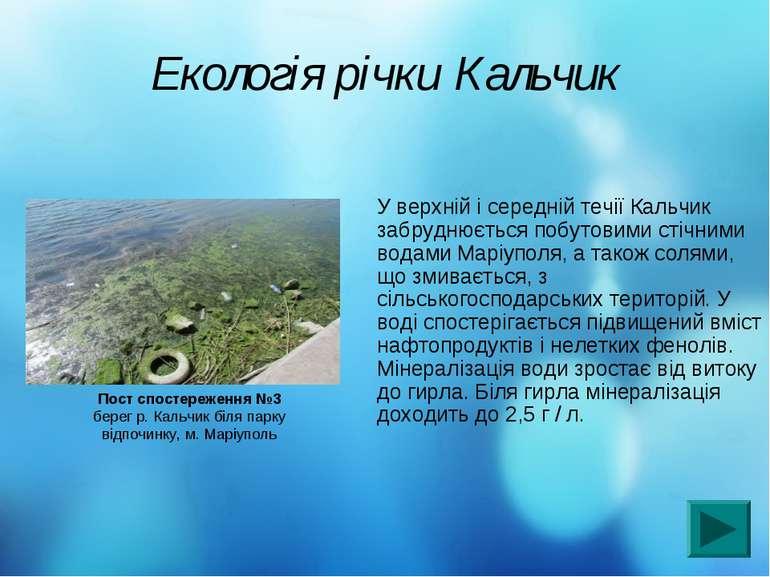 Екологія річки Кальчик У верхній і середній течії Кальчик забруднюється побут...