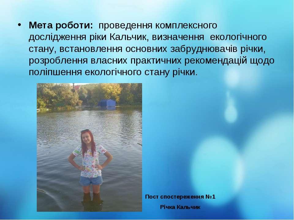 Мета роботи: проведення комплексного дослідження ріки Кальчик, визначення еко...