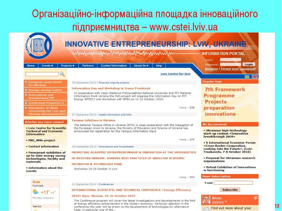 * Організаційно-інформаційна площадка інноваційного підприємництва – www.cste...