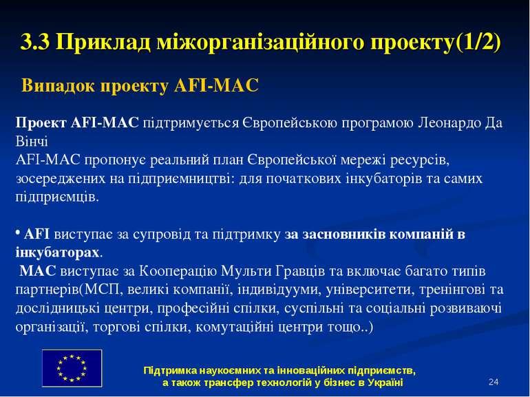 * 3.3 Приклад міжорганізаційного проекту(1/2) Випадок проекту AFI-MAC Проект ...