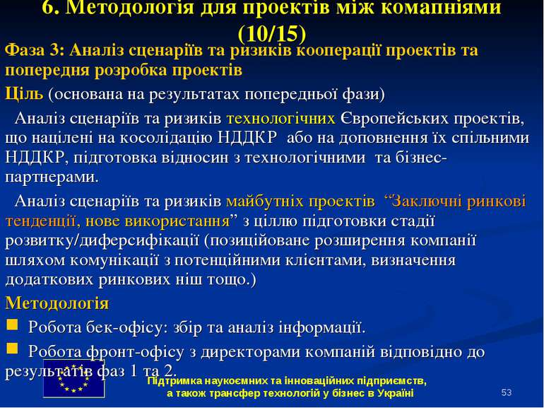 * 6. Методологія для проектів між комапніями (10/15) Фаза 3: Аналіз сценаріїв...