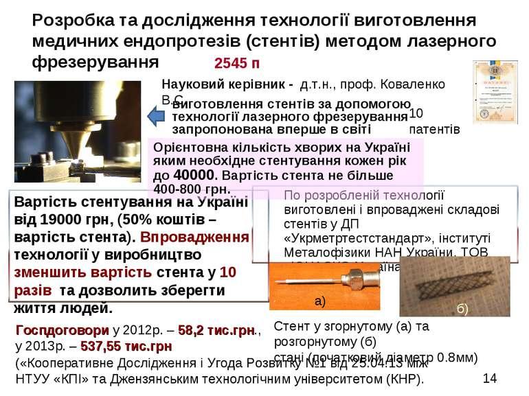 Розробка та дослідження технології виготовлення медичних ендопротезів (стенті...