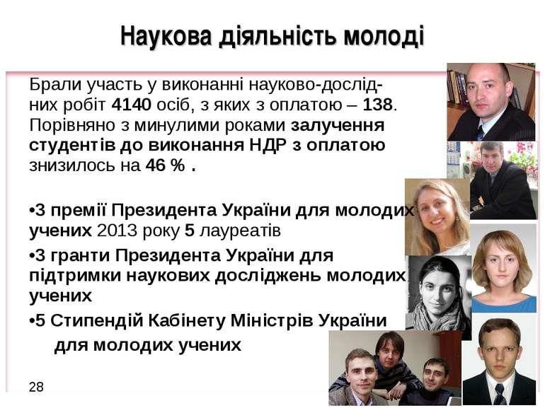 * Наукова діяльність молоді Брали участь у виконанні науково-дослід- них робі...