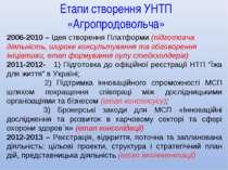 Етапи створення УНТП «Агропродовольча» 2006-2010 – Ідея створення Платформи (...
