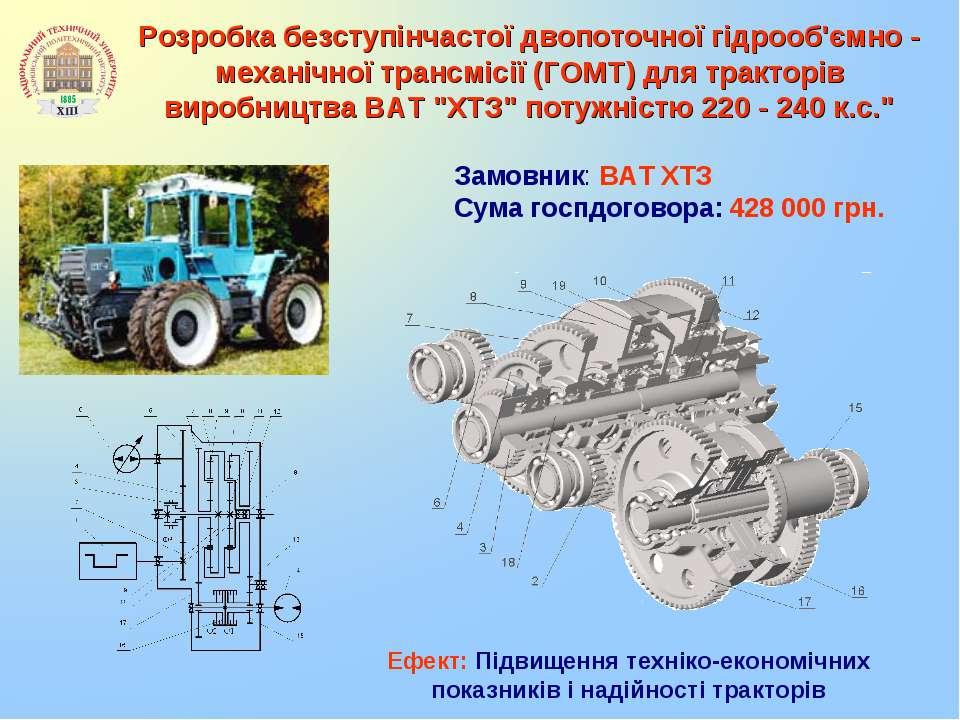 Розробка безступінчастої двопоточної гідрооб'ємно - механічної трансмісії (ГО...