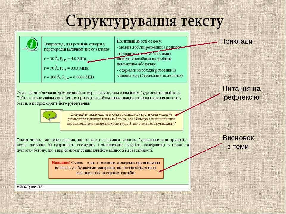 Структурування тексту Приклади Питання на рефлексію Висновок з теми